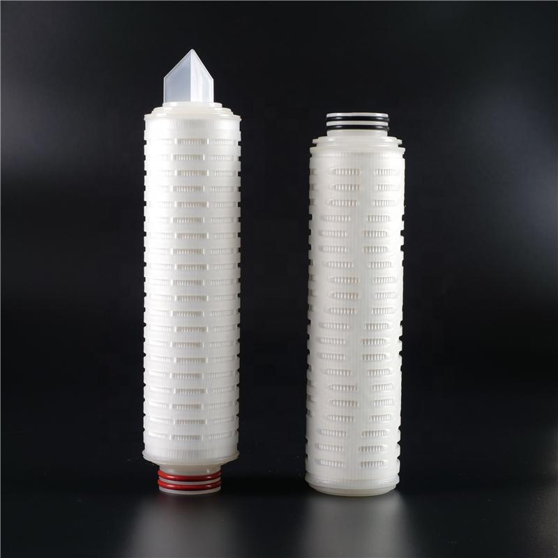 0.2 1 5 10 20 microns Polypropylene / Glass Fibre Membrane Pleated Filter Cartridge with Rubber Ring