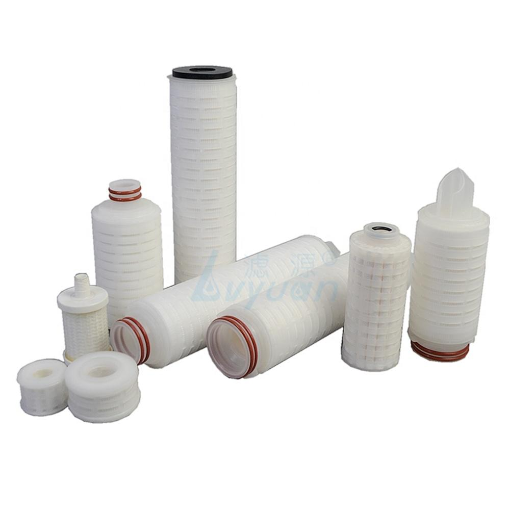 Chemical industry filter 10/20/30/40 inch pvdf cartridge filter with 0.1 0.45 microns membrane pleated media