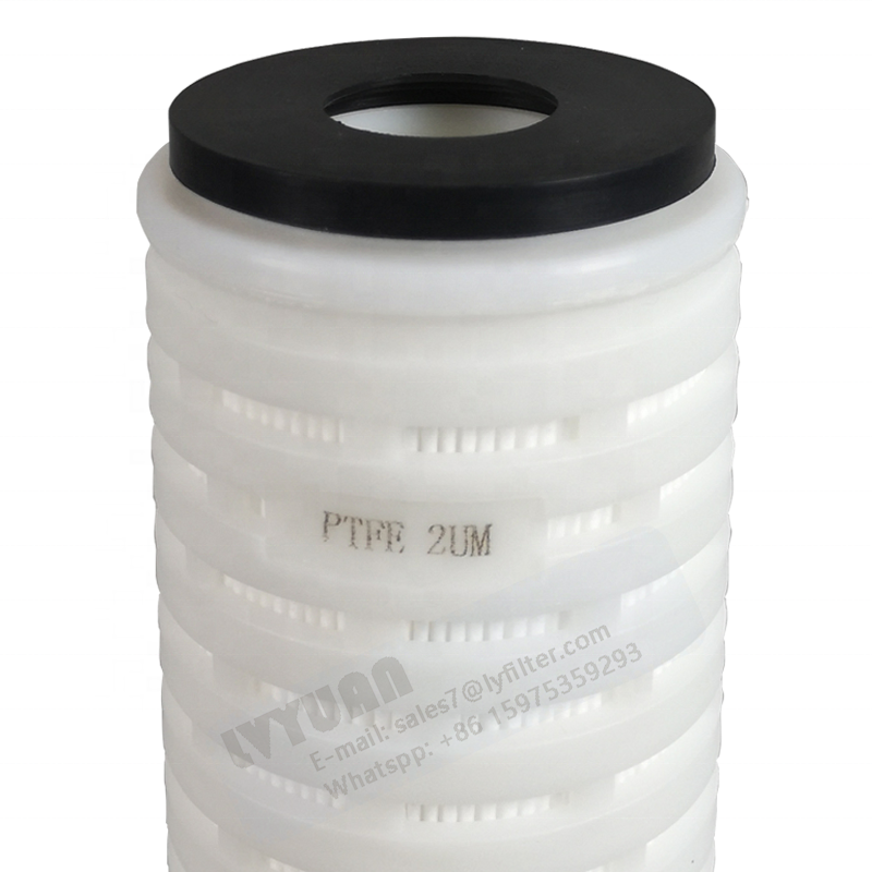 Guangzhou manufacturer 0.2 micron PP/PTFE membrane 10 inch pleated cartridge filter element with double o rings
