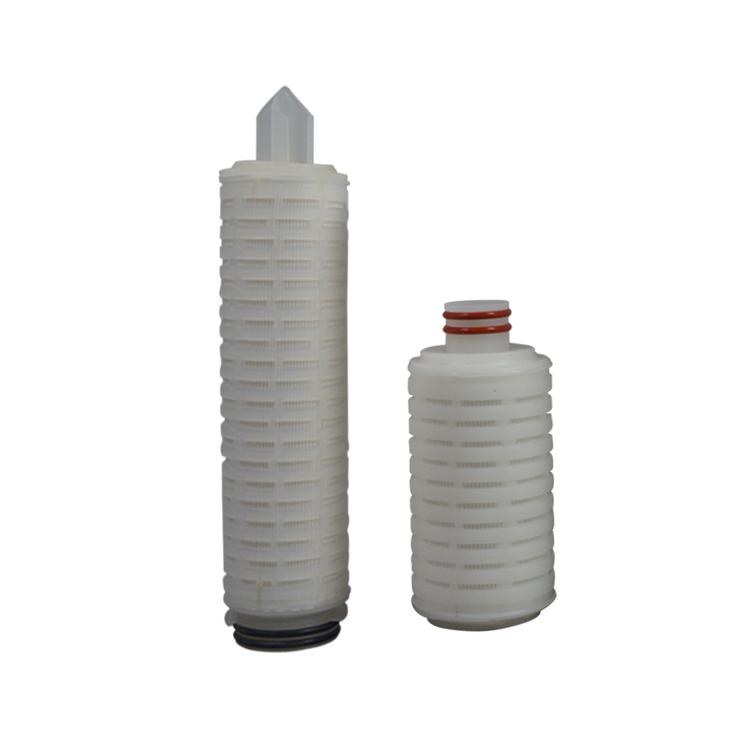 liquid water or air treatment PP/PTFE/PES/N66 /PVDF water filter cartridge absolute 0.1micron folding filter cartridge