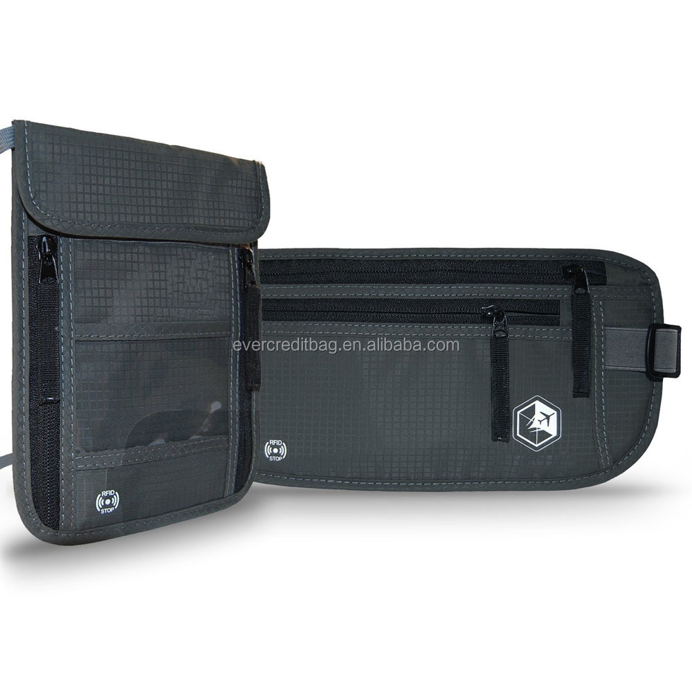 Rfid Money Belt and Neck Pouch Twin Pack