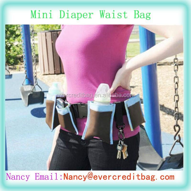Mummy Waist Diaper Bag Baby Items Bag/Holder W/Adjustable Belt 4 Bags