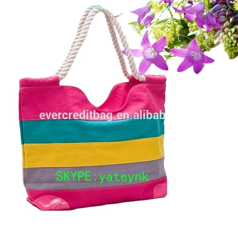 2021Fashion Colorful Strip Canvas Beach Bag