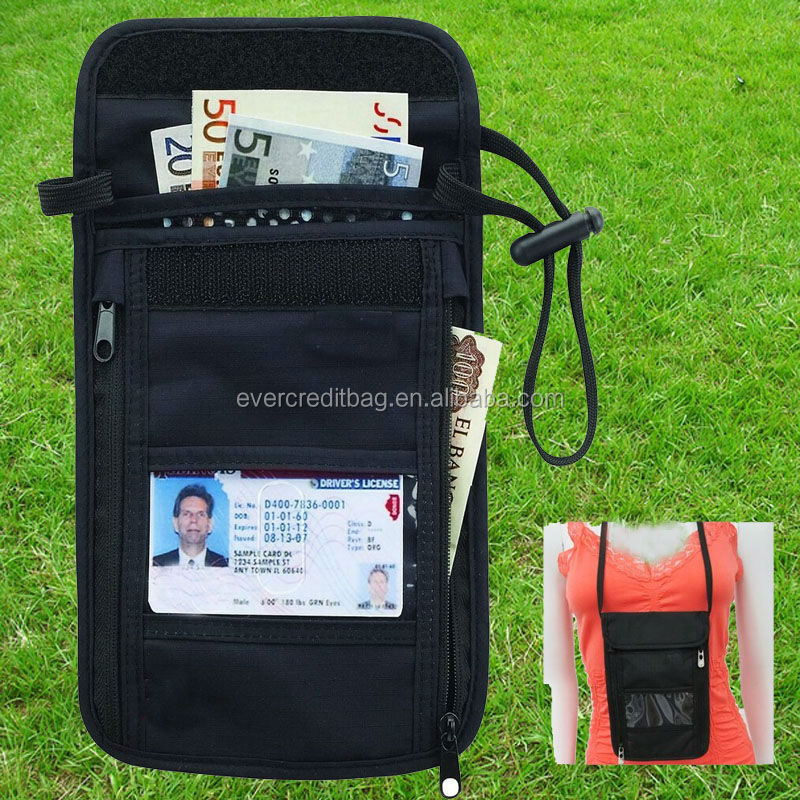 RFID Neck Stash Pouch Travel Holder Passport Id Wallet Bag
