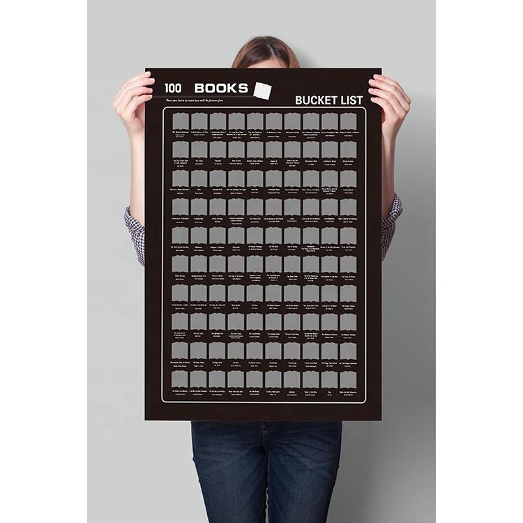 Customized 420x594mm 100 Books Bucket List Scratch Off Poster Gift