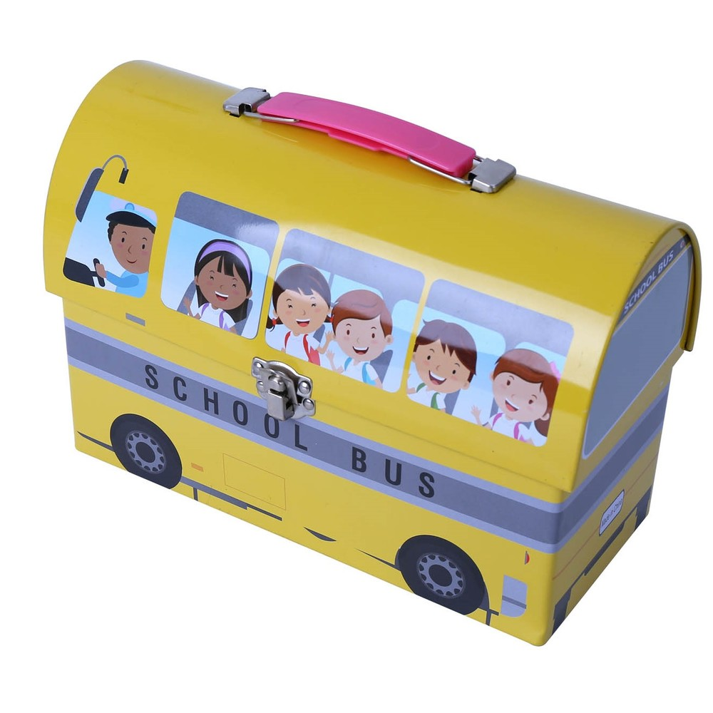 School bus shape kids lunch box with handle