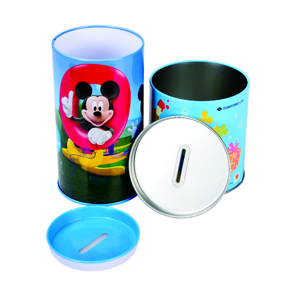 Round metal tin coin bank for kid with open lid