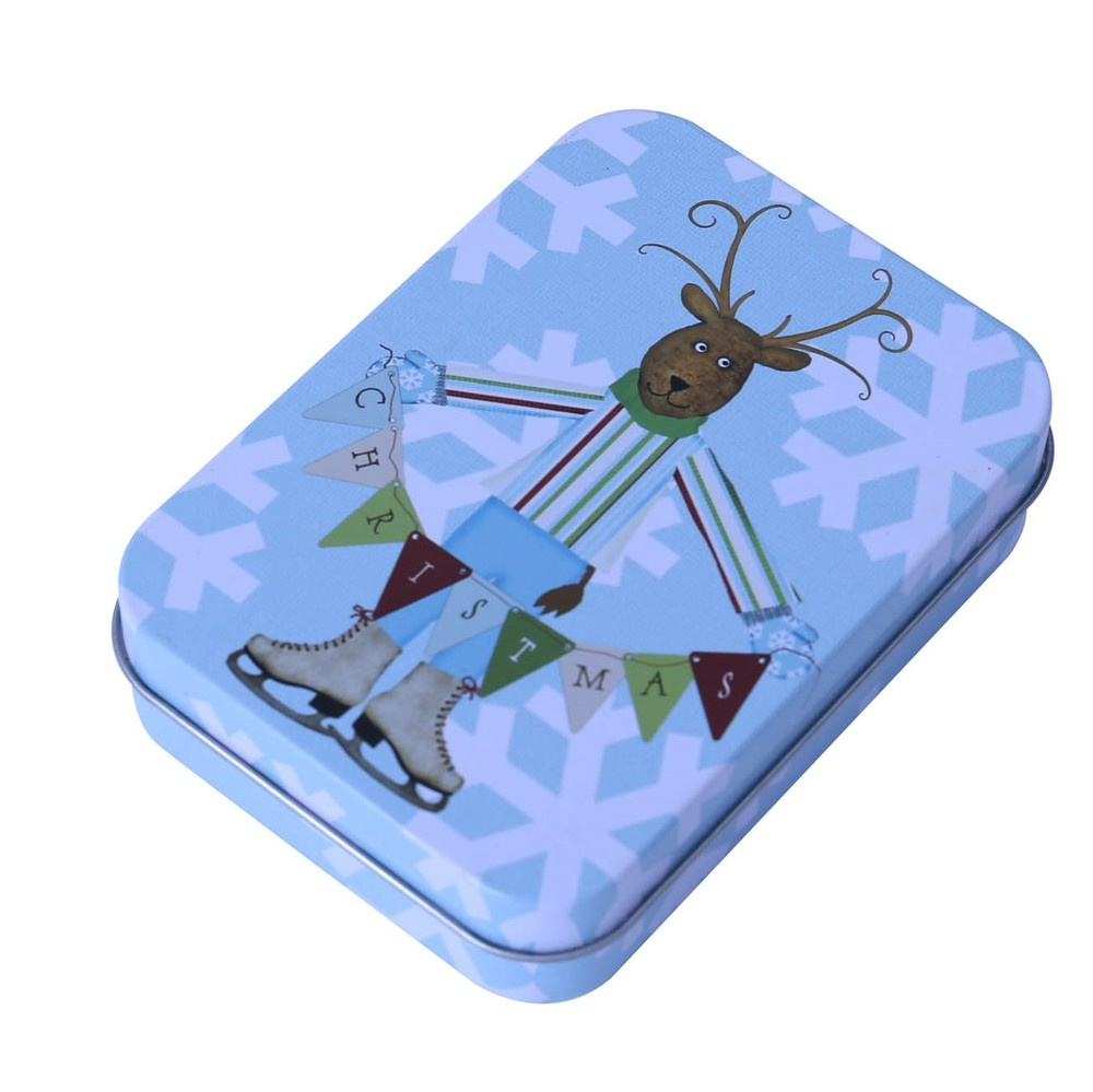 Rectangular small play card tin box with food grade material