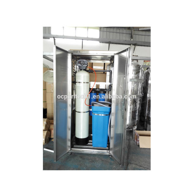 Small household water softener with cabinet