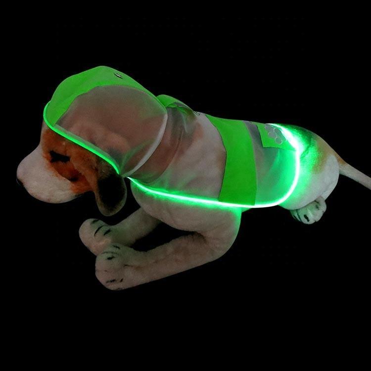 Wholesale Aidi Jacket Clothes Dogs Transparent Waterproof Raincoat For Dog Rainsuit with Led Light Luxury Dog Raincoat