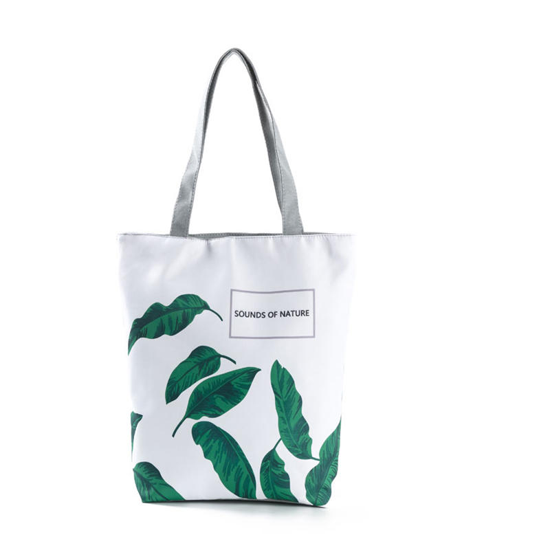 Summer Green Leaf Printed Women Handbag Foldable & Reusable Beach Bag Large Capacity Canvas Travel Bag For Female
