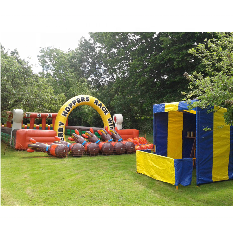 Popular sport race game inflatable horse running game track