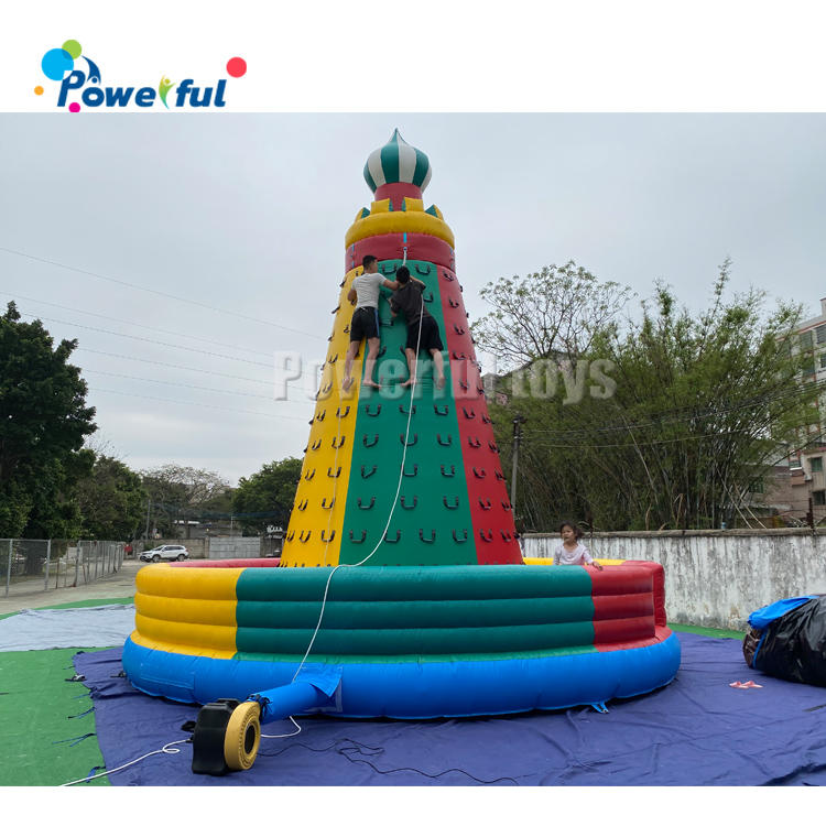 Inflatable climbing wall for outdoor sports