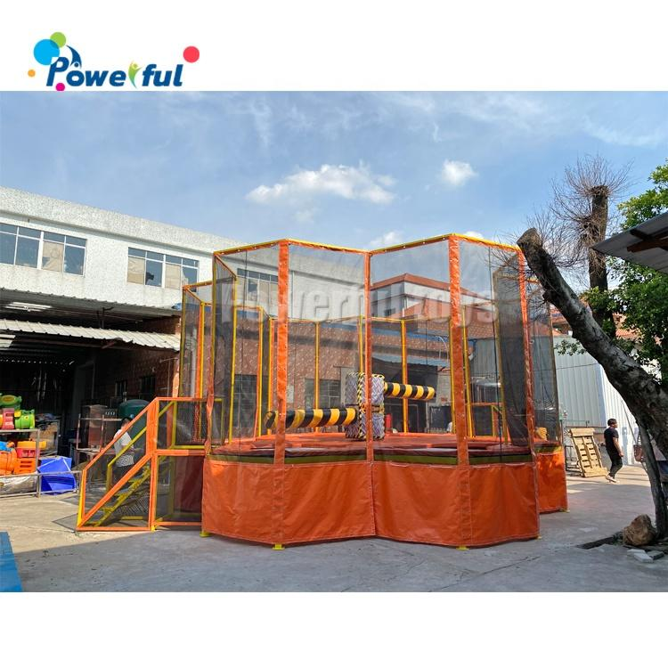 Indoor trampoline park wipeout trampoline kids jumping trampoline with protective net