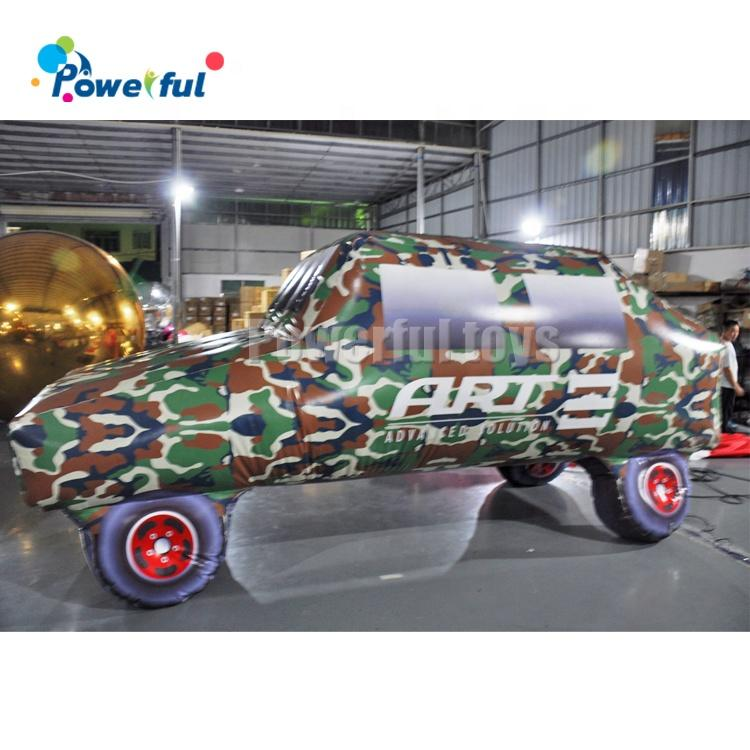 Inflatable camouflage car paintball bunkers for jousting arena