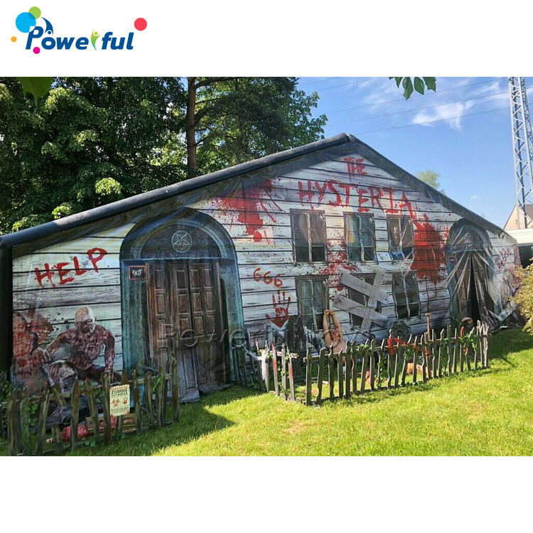 Halloween inflatable laser tag inflatable haunted house maze for amusementpark