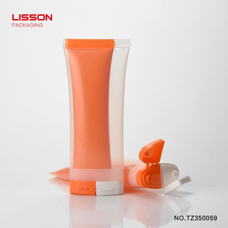 oval double chamber tube for sunscreen cream with flip top cap