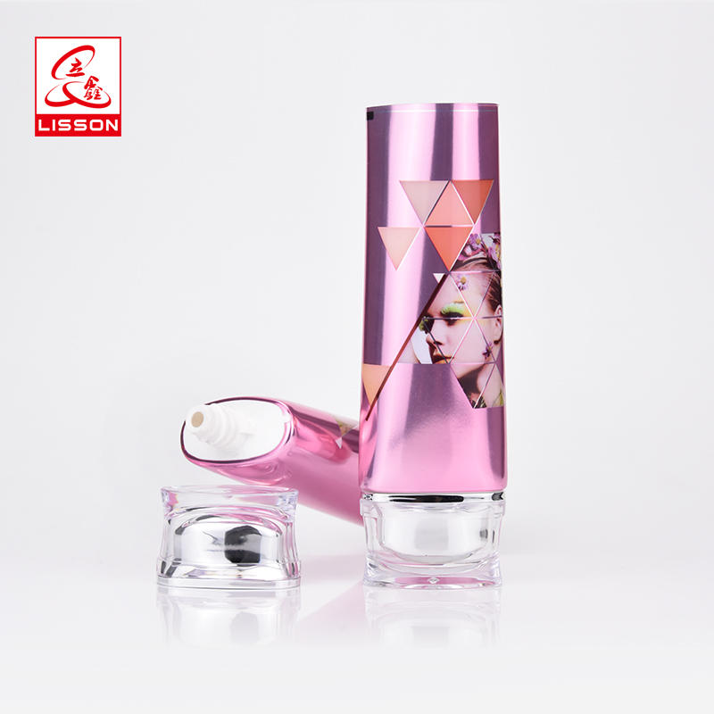 Custom cosmetic oval laminated packaging BB cream tube with acrylic cap