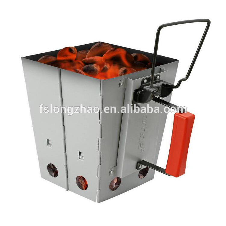 Zine galvanized folding square charcoal grill starter