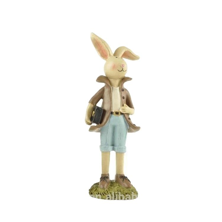 2020 New design small resin bunny boy rabbit decoration for easter holiday