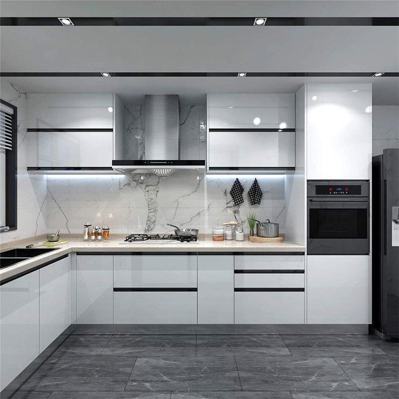 American Nordic Overall Minimalist Light Luxury Kitchen Cabinets Custom Modern Minimalist Open Cabinets Solid Wood Drawer SLIDE