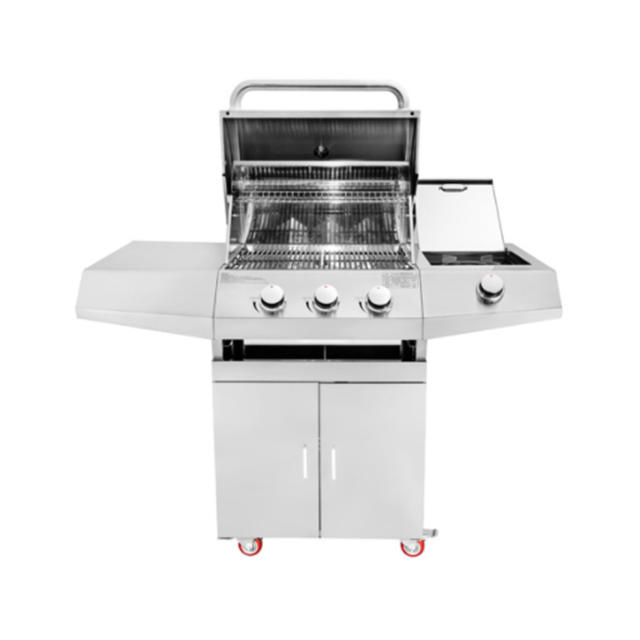 Professional Commercial Barbecue Trolley Stainless Steel 3 Burner BBQ Gill Garden