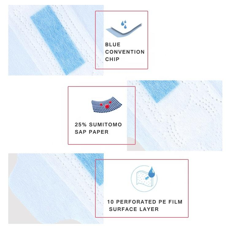 Pure sky blue sanitary napkin pads in turkey processing household hygiene products