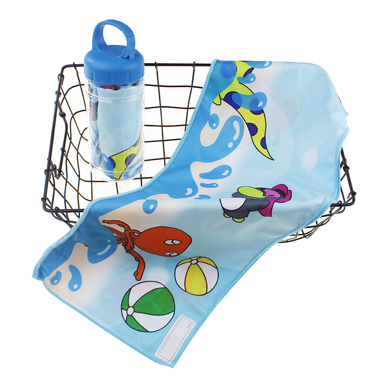 Custom printed strong suction cold towel bottle portable sports cold towel