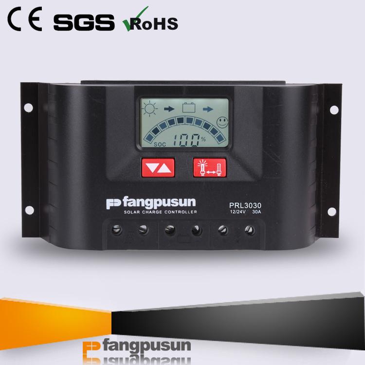 Fangpusun Solar Panel Charge Controller Prl3030 PWM Solar Power Controllers 12V 24V 30 AMP Solar Charger