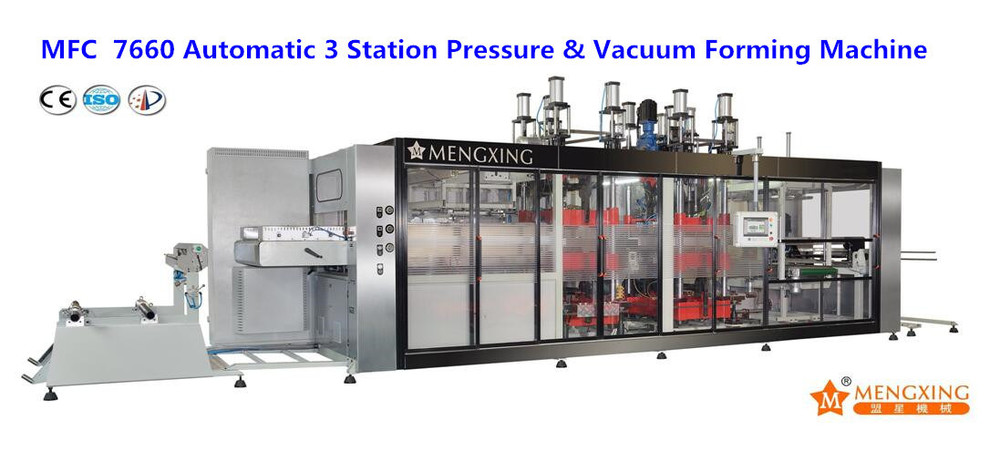 Fully Auto 3 Station PP/Pet/BOPS/PLA Food Container Forming, Cutting & Stacking Machine (MFC 7660)