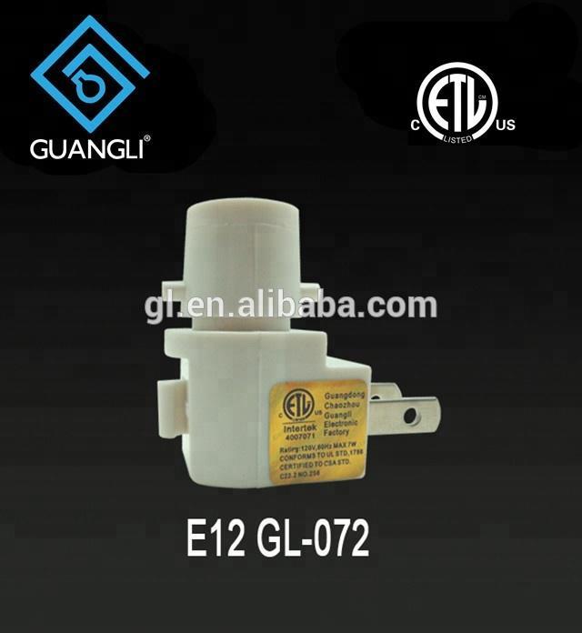 ETL approved USA Switch Pakistan Salt Wall lamp socket Night Light electrical plug inholder and 110V or 120V