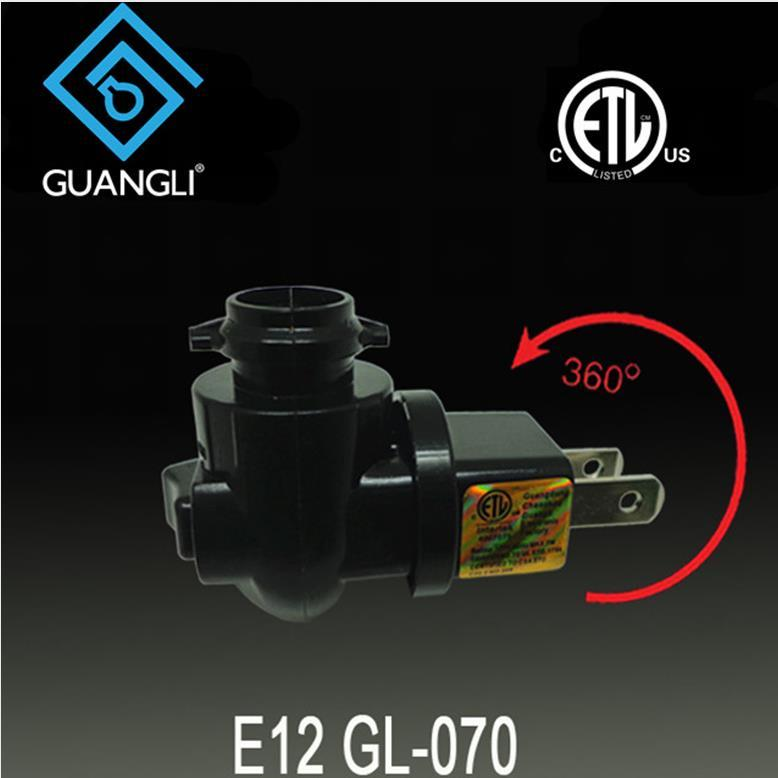 OEM 070 ETL approved USA socket for salt lamp night light rotating and plug in with 5W or 7W or 15W and 110V 120V