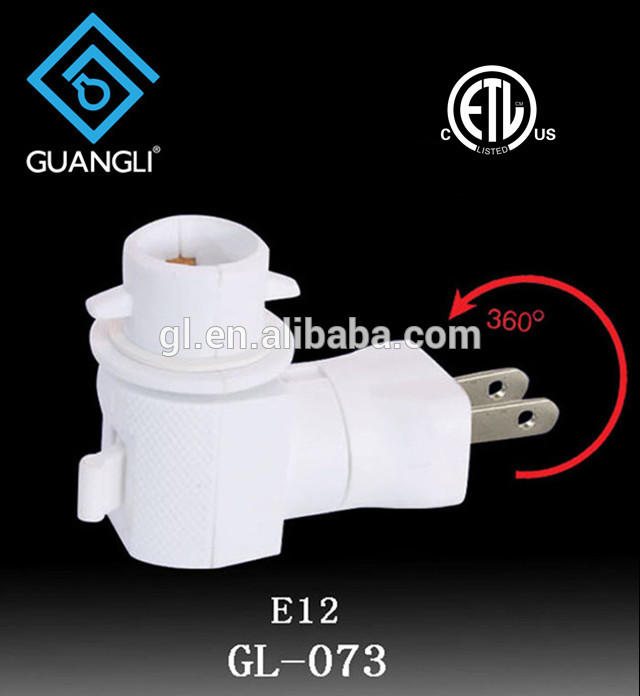 OEM ETL approved USA Switch night light socket lamp holder rotating and plug in with 5W or 7W and 110V or 120V