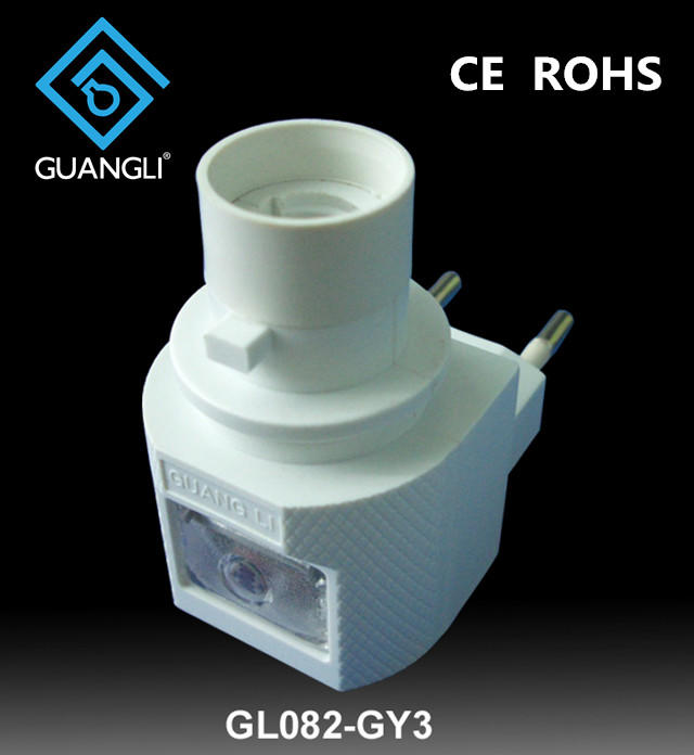 OEM GL-082-GY3 EU or USA Sensor night light socket plug in lamp holderwith 5W or 7W incandescent and 110V or 120V