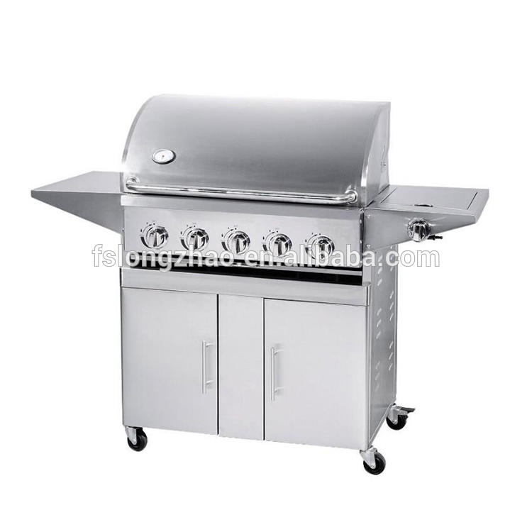 5+1 Burners Gas Grill BBQ Grill With Round Hood And Thermometer