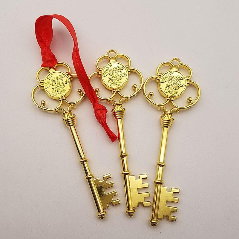 Christmas Tree Ornaments Holiday Decorations Metal Gold 3D Santa Magic Key with Ribbon