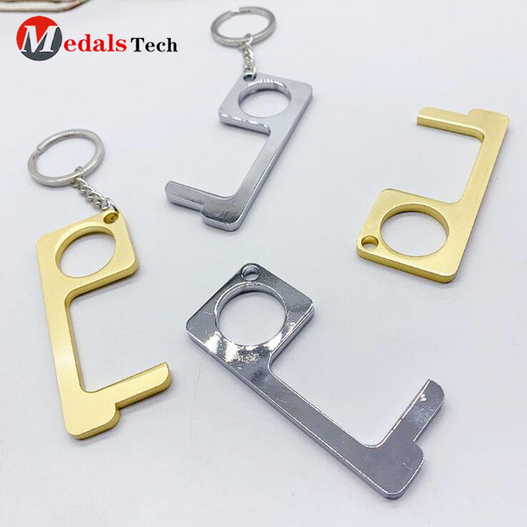 EDC Brass contactless helper elevator door opener keychain