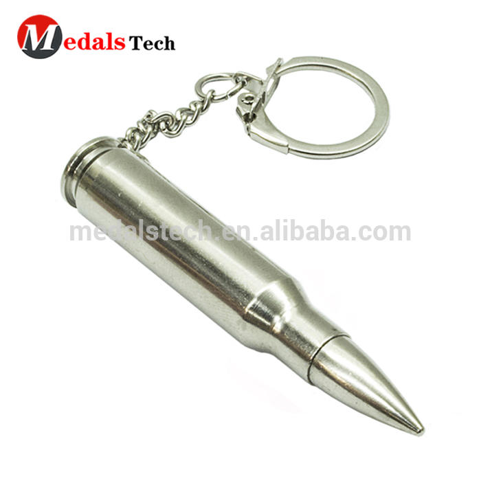 Hot sell factory price personalized custom plating gold bullet shape blank keychain