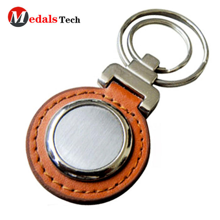 Customized promotional leather cover souvenir metal keychain