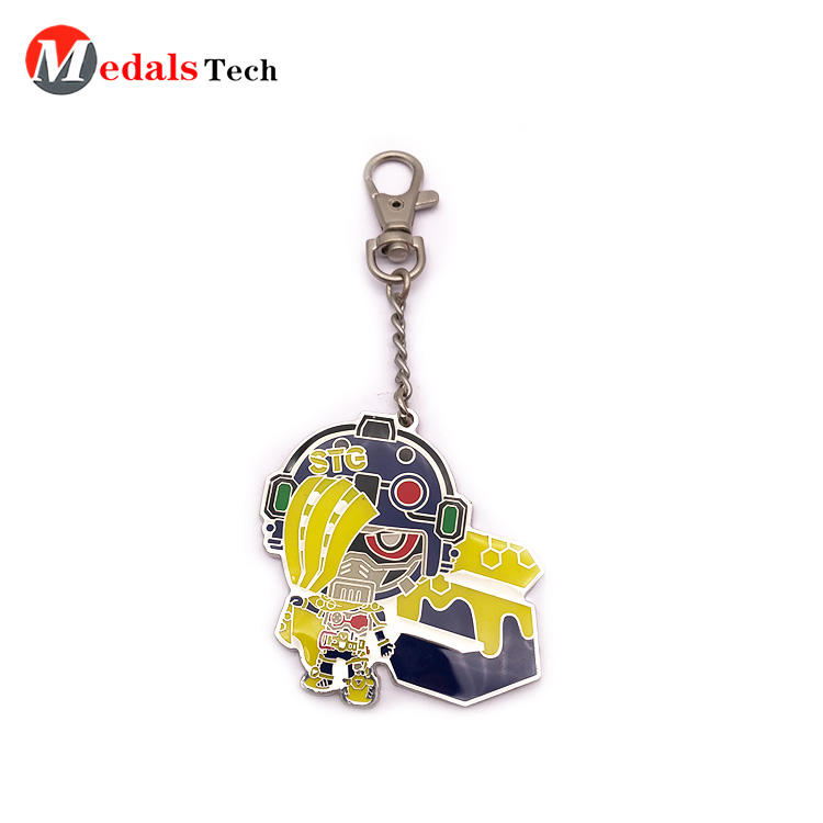 Promotion custom shaped cartoon metal souvenirkeychain