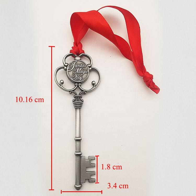 In StockVariety Shiny Antique Plating Metal Magic Santa Key with Red Ribbon For Christmas