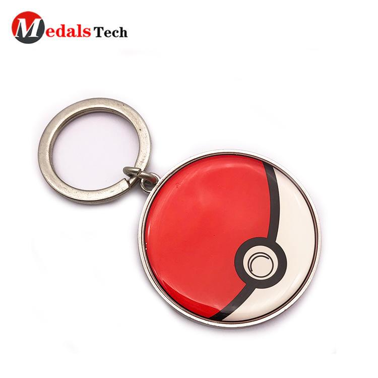 Custom round shaped metal keychain with epoxy sticker