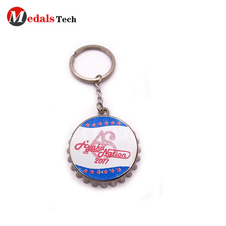 Cheap printing innovative bottle opener logo metal keychain
