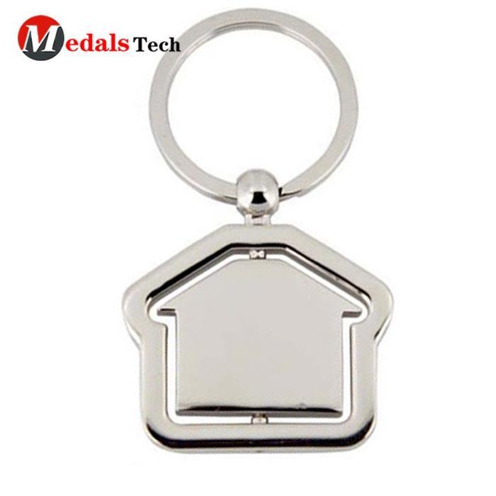High quality custom chrome house blannk silver shape metal keychain