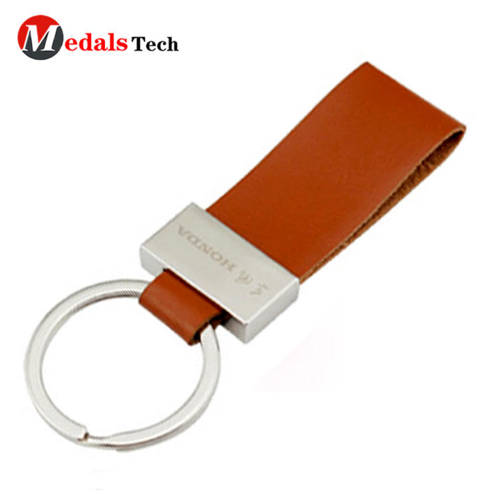 Unique customcar logo brown leather cover metal keychain