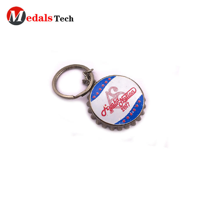 Cheap printing innovative bottle opener logo metal keychain