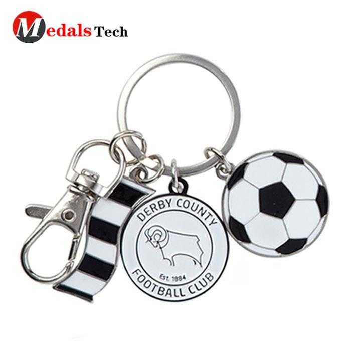 Custom antique print ireland metal rugby ball keychain