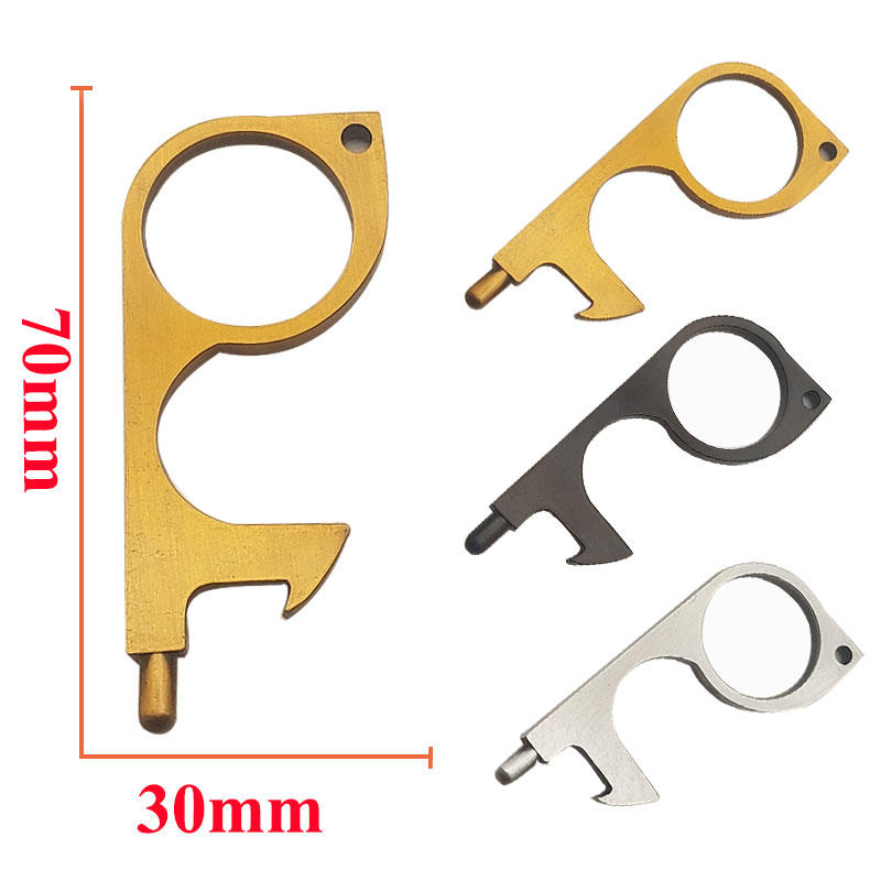 Portable Contactless Door Opener Personalized KeychainBrass No Touch Hand Keep Your Hands Clean in Public