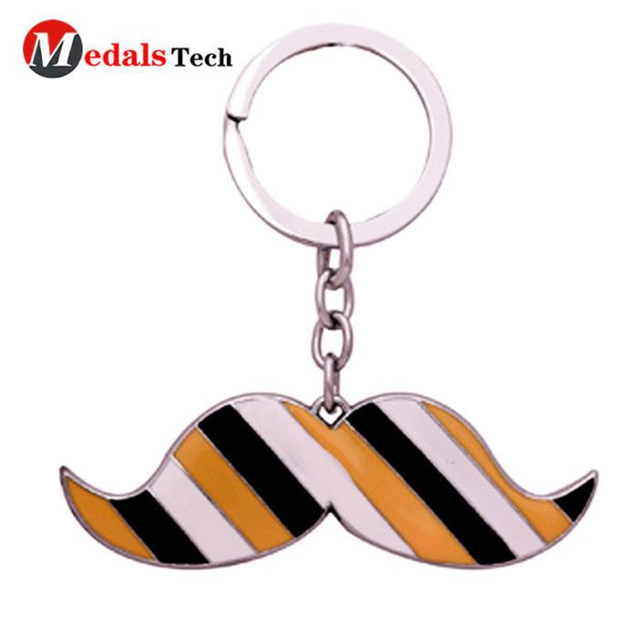 Low priceshinny gold square metal souvenir logo keychain
