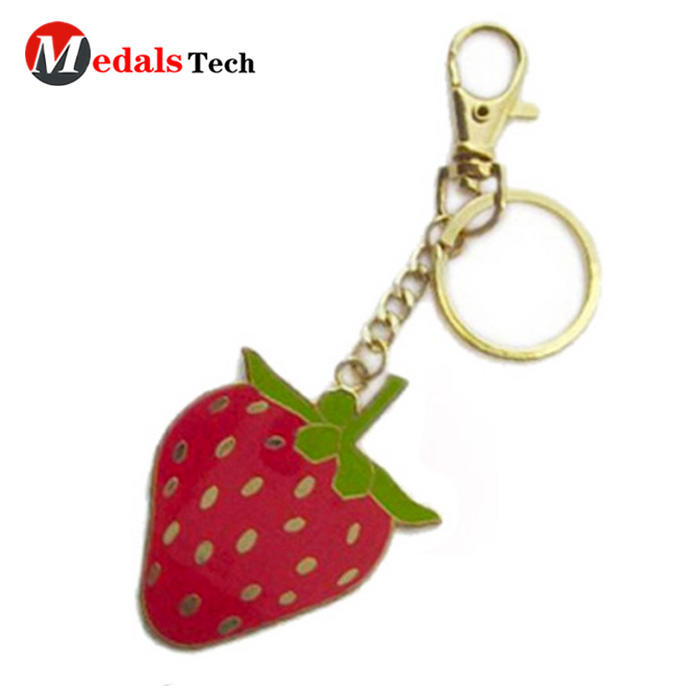 Custom soft enamel metal sweet strawberry shape keychain
